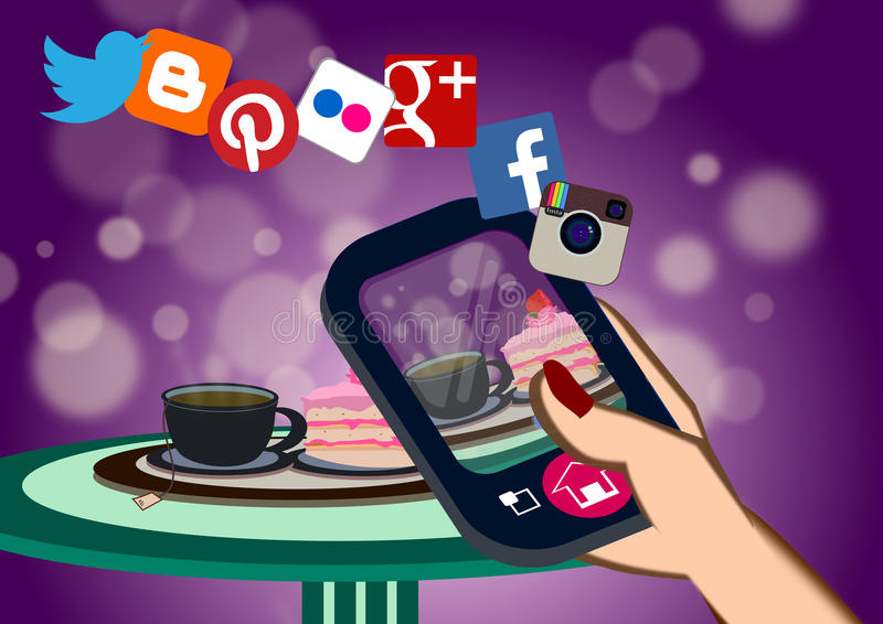 Food selfie and Social media concept royalty free illustration