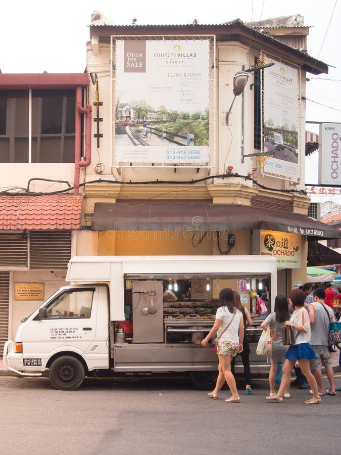 Food seller cart (LOK LOK) on Jonker street. Malacca, Malaysia. royalty free stock photos