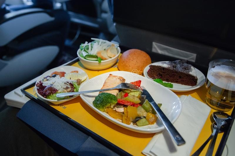 Food served on board of business class airplane stock image