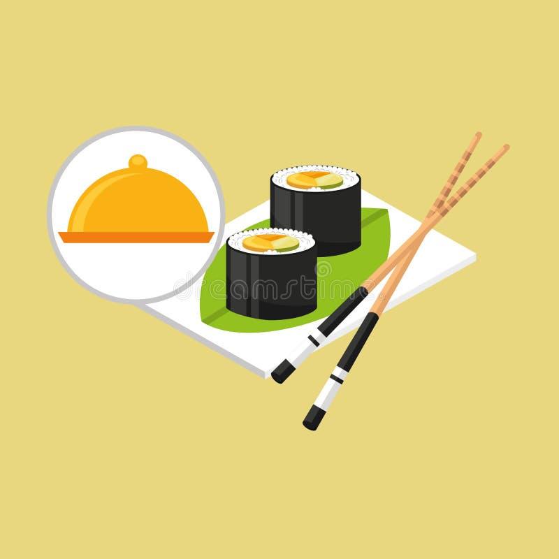 Food serving tray sushi design. Vector illustration eps 10 royalty free illustration