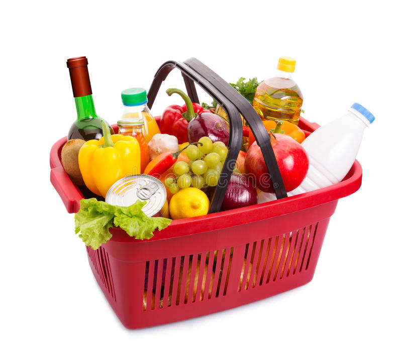 Food set. Basket full off fruits and vegetables. Food set. Isolated over white stock image