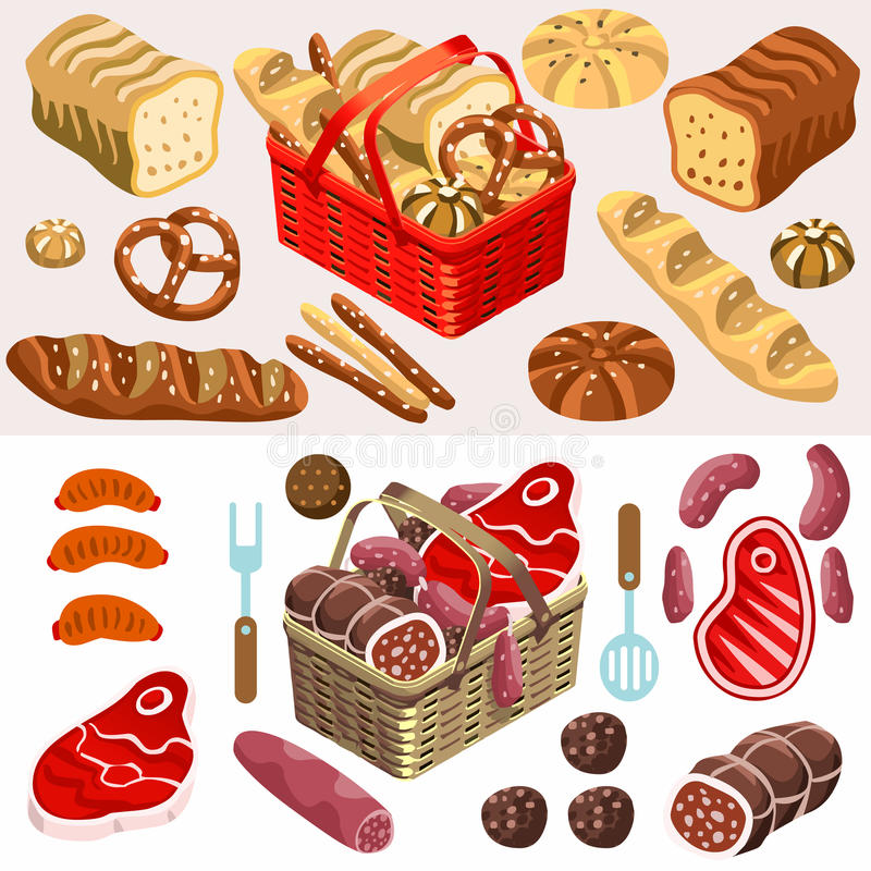 Food Set Meat and Bread Isometric. Fragrant Mixed Types of Freshly Baked Bread near a Flat 3d Isometric Basket of Gorgeous Meat Products royalty free illustration