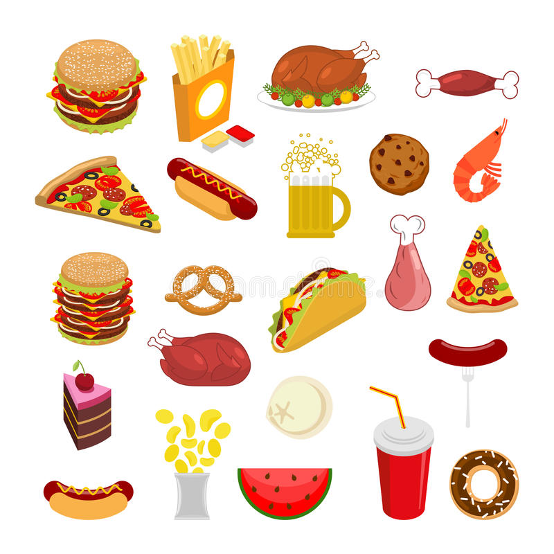 Food set. Signs of feed. Icon Collection of meat. stock illustration