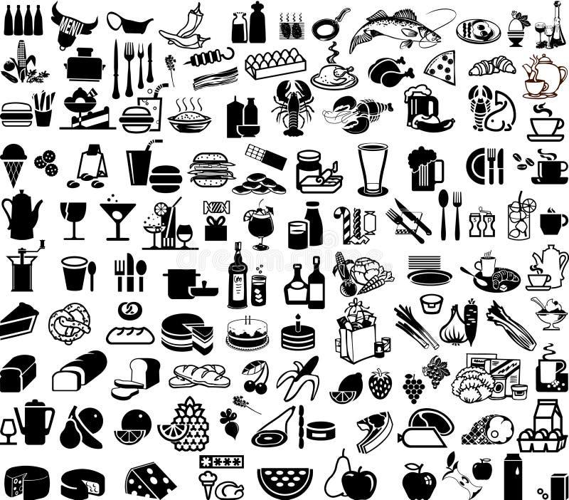 Food. Set of supermarket and bar symbols