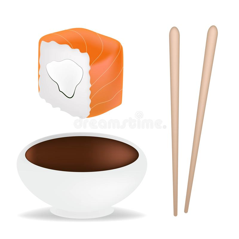 Food set with sushi and rolls, chopsticks, soy sauce in white sauceboat isolated vector illustration. Realistic conсept. Food set with sushi and rolls royalty free illustration