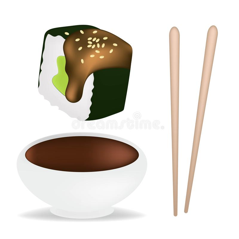 Food set with sushi and rolls, chopsticks, soy sauce in white sauceboat isolated vector illustration. Realistic conсept. Food set with sushi and rolls stock illustration