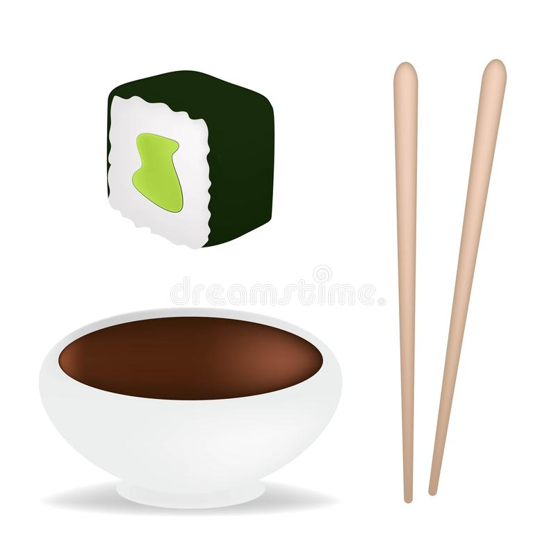 Food set with sushi and rolls, chopsticks, soy sauce in white sauceboat isolated vector illustration. Realistic conсept stock illustration