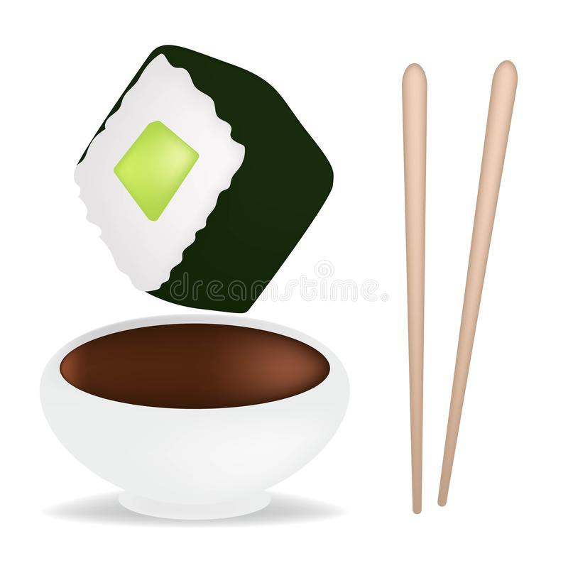 Food set with sushi and rolls, chopsticks, soy sauce in white sauceboat isolated vector illustration. Realistic conсept. Food set with sushi and rolls vector illustration