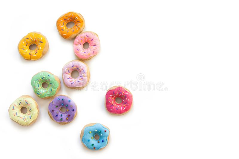 Toy food for children`s games. Hand-made donuts made of fabric,. Food is sewed from fabric for a children`s game in a shop or cafe. Donuts, hamburger, pizza royalty free stock image