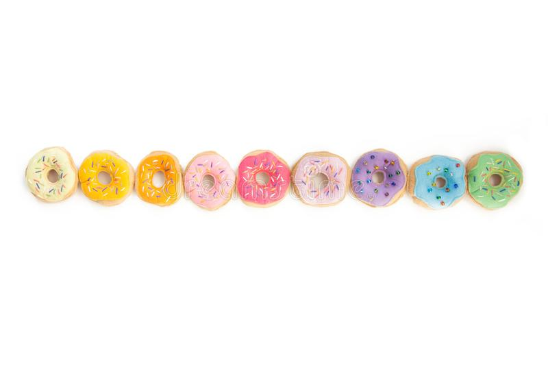 Toy food for children`s games. Hand-made donuts made of fabric,. Food is sewed from fabric for a children`s game in a shop or cafe. Donuts, hamburger, pizza royalty free stock photos