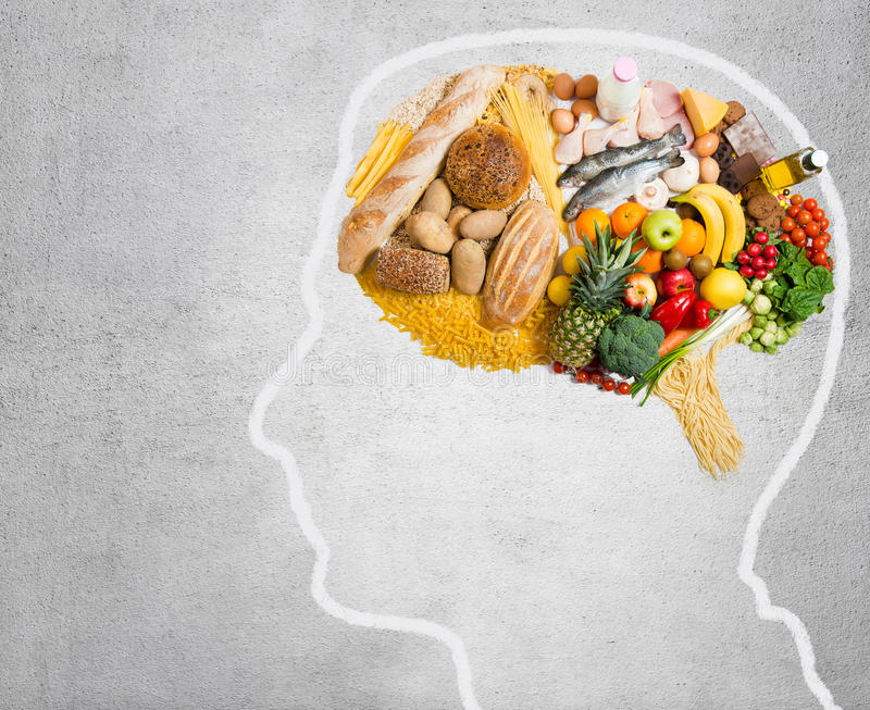 Food for thought. Food in shape of a brain stock photography