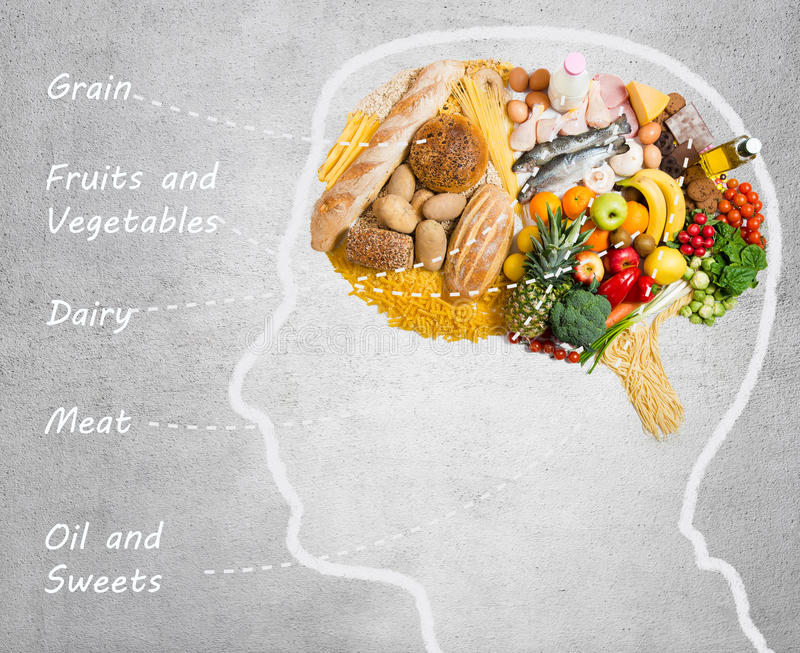 Food for thought. Food in shape of a brain royalty free stock photography