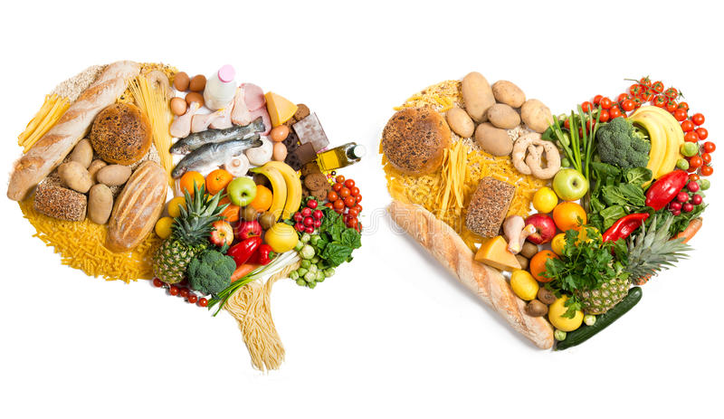 Food in a shape of a brain and heart stock images
