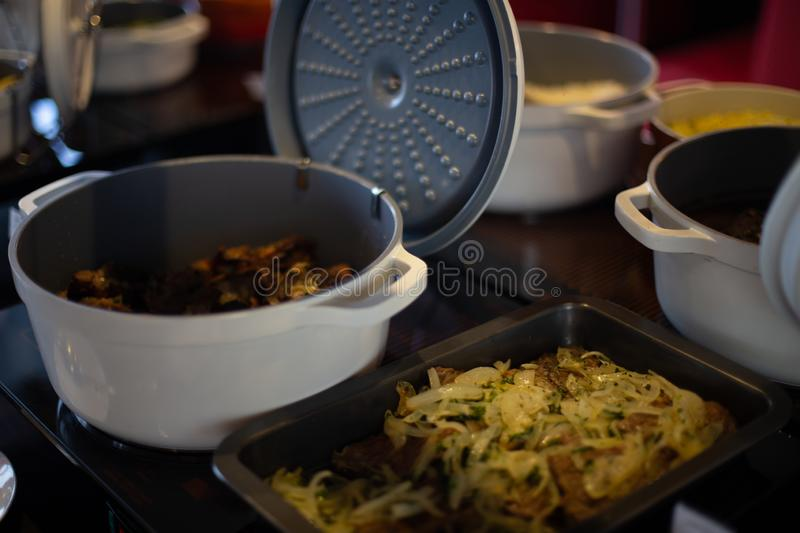 Food on the shelves in the self-service buffet. Food buffet in restaurant royalty free stock photos