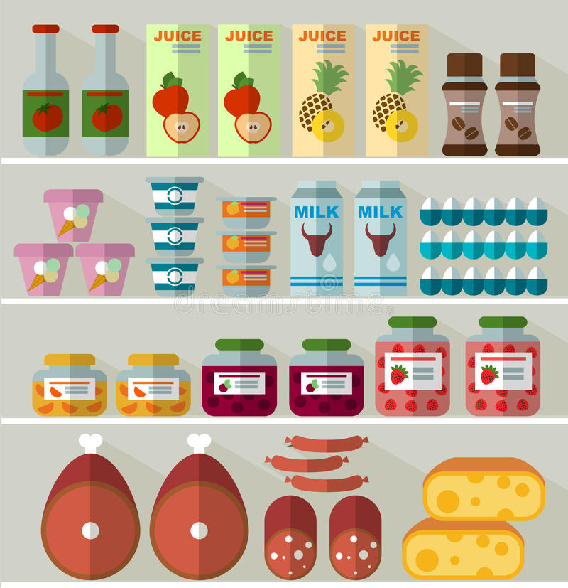 Food on the shelves of the store royalty free illustration