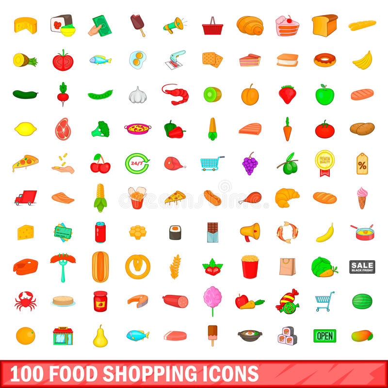 100 food shopping icons set, cartoon style royalty free illustration