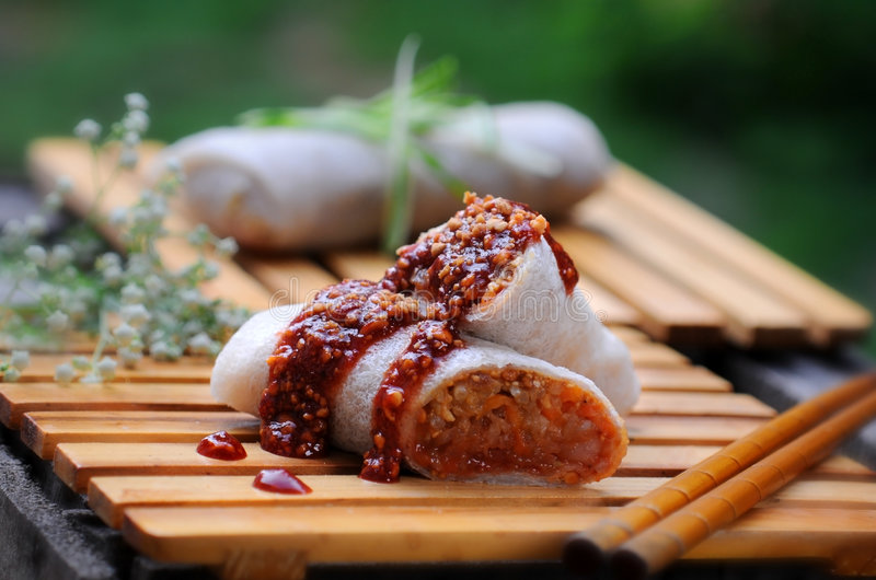 Food shot. Typical oriental food call popiah royalty free stock photos