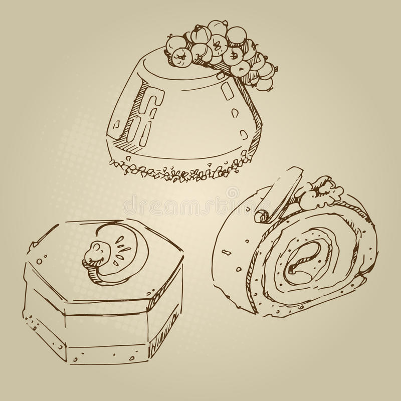 Food sketch chocolate cake with currants, cake mandarin souffle, jelly, chocolate roll stock illustration