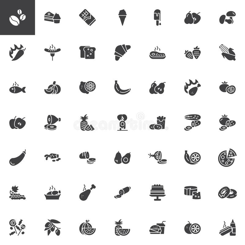 Food and snacks vector icons set royalty free illustration
