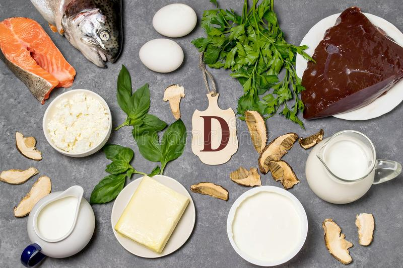Food is source of vitamin D. Various natural food rich in vitamins. Useful food for health and balanced diet. Prevention of avitaminosis. Small cutting board stock images