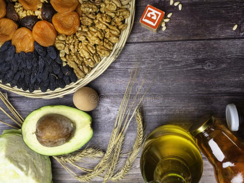Food is source of vitamin E. Various natural food rich in vitamins. Useful food for health and balanced diet. Prevention of stock photos