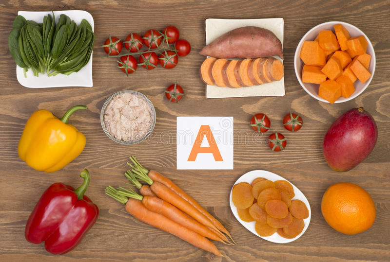 Food sources of beta carotene and vitamin A. Healthy food sources of beta carotene and vitamin A royalty free stock photography
