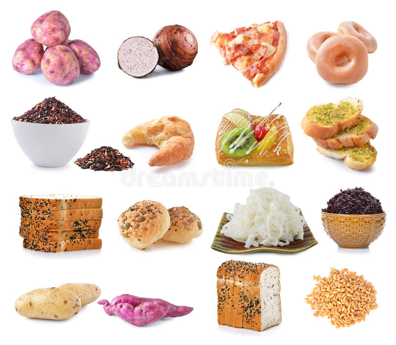 Food Sources Of Complex Carbohydrates Isolated On White