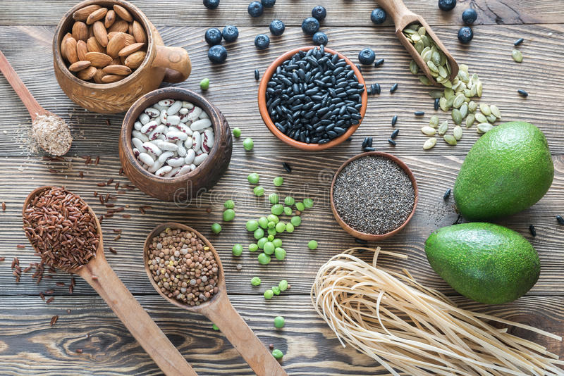 Food sources of fiber royalty free stock photo
