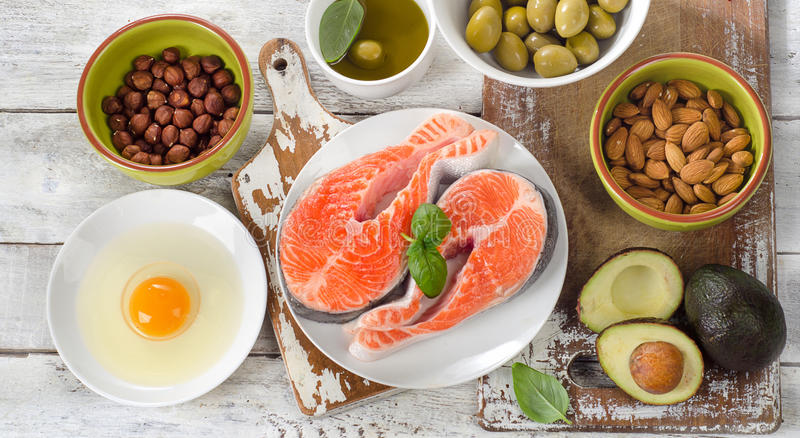 Food sources of healthy fats. Diet eating.Top view royalty free stock images