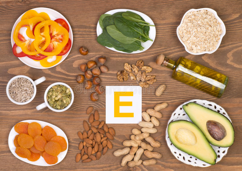 Food sources of vitamin E. Various food sources of vitamin E stock photos
