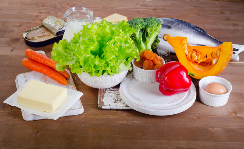 Food sources of vitamin A. View from above royalty free stock photo