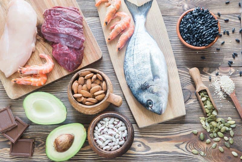 Food sources of zinc stock photo