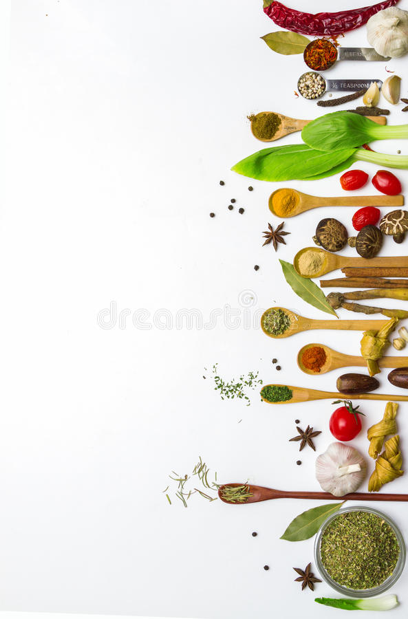 Wallpaper Food Cooking Grill Vegetables Peppers: Food And Spices Herb For Cooking. Stock Photo