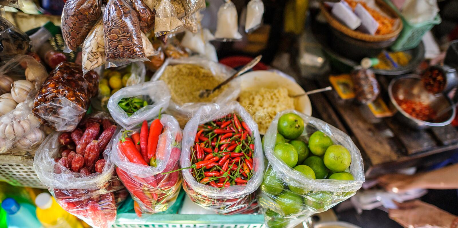 Food and spices in vietnam. Food ingredients and spices in vietnam food market royalty free stock photo