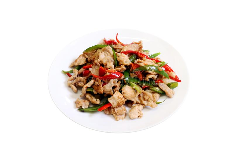 Spicy food, chili food, Fried sweet pepper with pork, Fried chili paste with pork, meat, Salted pork with chili cooking oil & Basi stock image