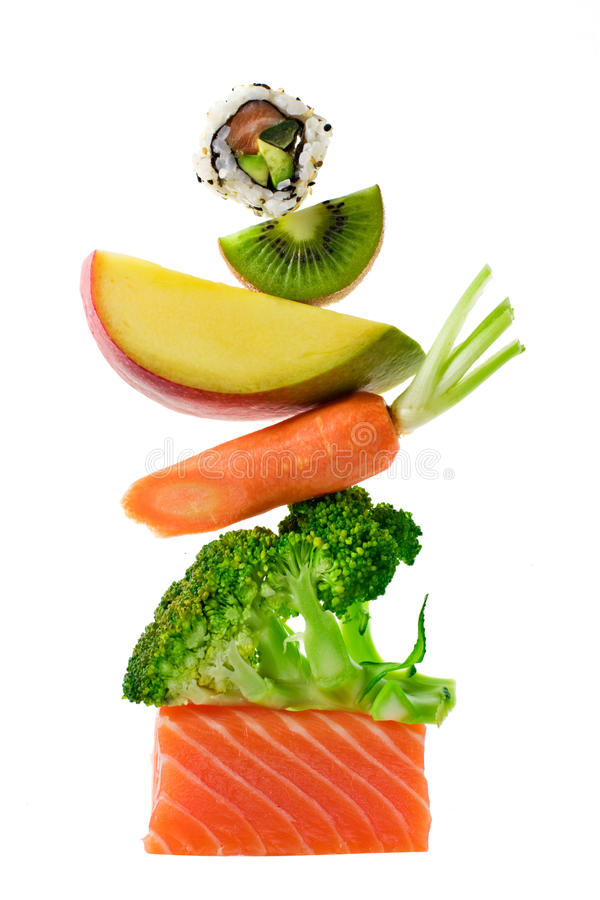 Food Stack. Food balance. Salmon, fruits and vegetables royalty free stock photography