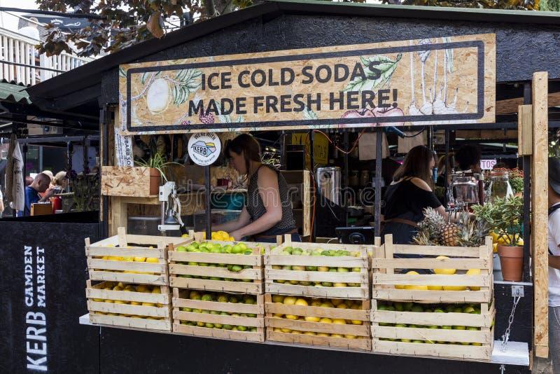 Food stall at Camden Market. stock image