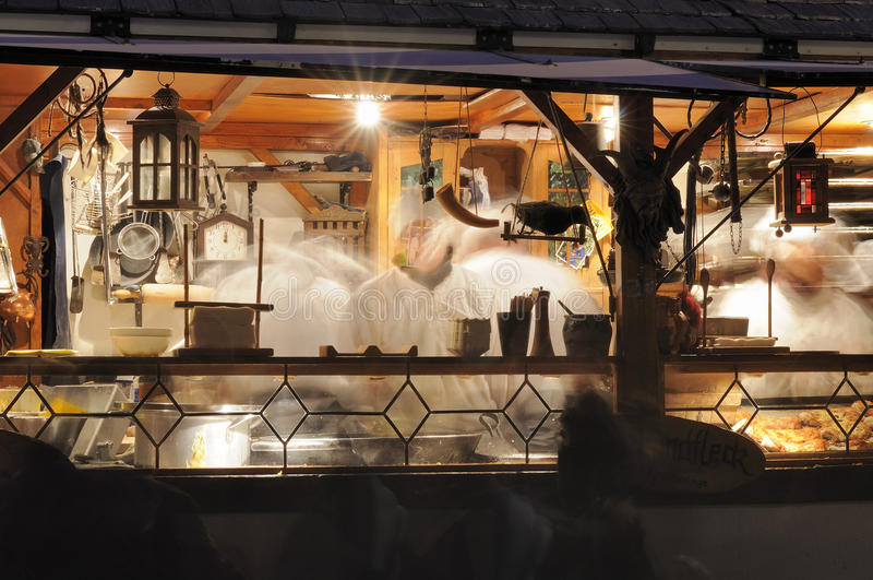 Food stall at medieval market, esslingen royalty free stock photos