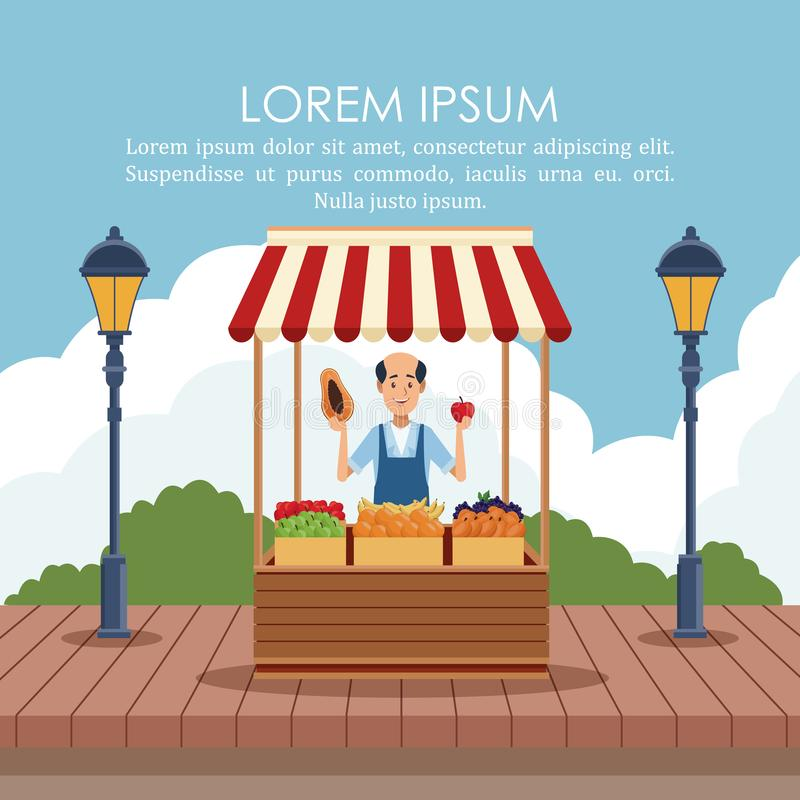 Food stand poster. Food stand at park poster with information vector illustration graphic design stock illustration