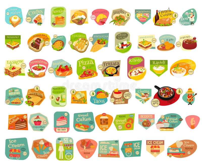 Food Stickers Set vector illustration