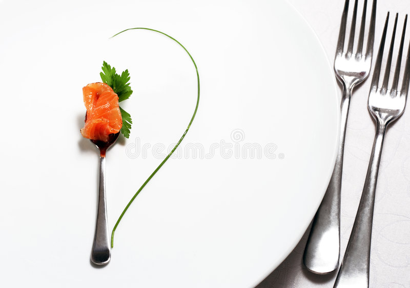 Food Still Life. Flatware, Fish and Green. Abstract Flower royalty free stock photography