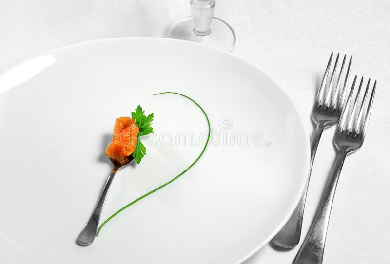 Food Still Life. With Fork, Glass, Fish and Green stock photos