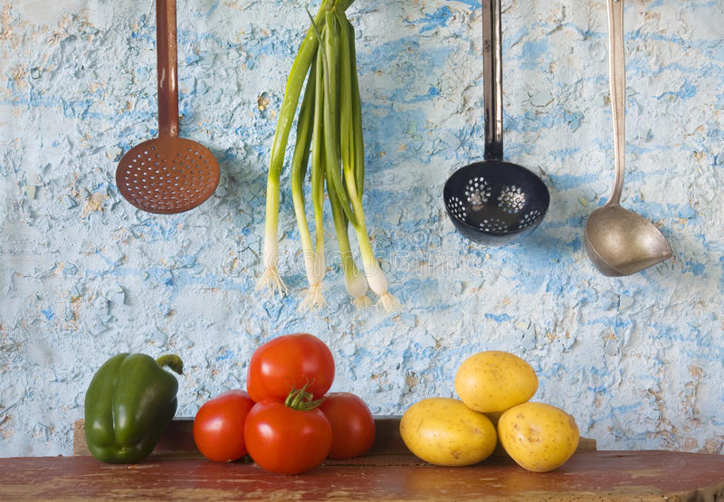 Food still life, bio food. Food still life: vegetables + vintage kitchen utensils, slow food stock photography