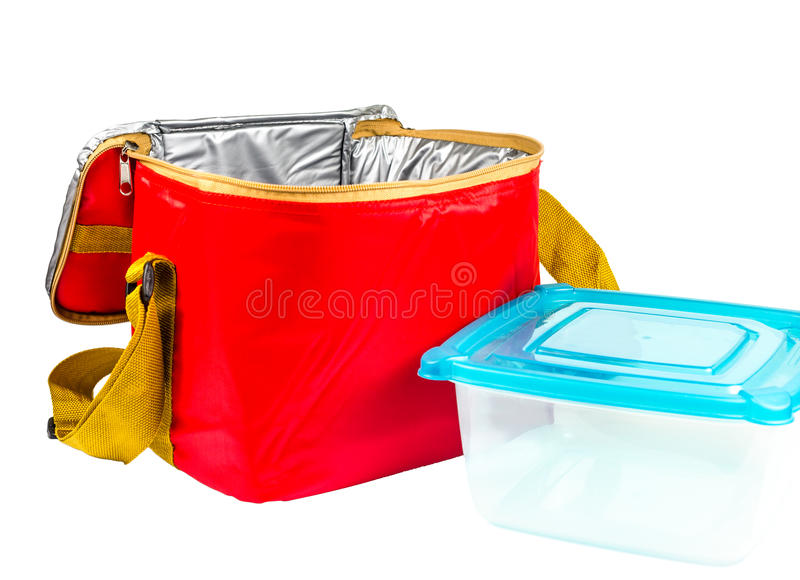 Food storage red insulated bag. Red insulated bag,food container stock photo