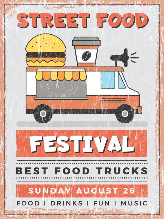 Food street festival. Kitchen in car mobile Van outdoor fast catering delivery vector vintage poster design. Restaurant fast food catering, truck street car royalty free illustration