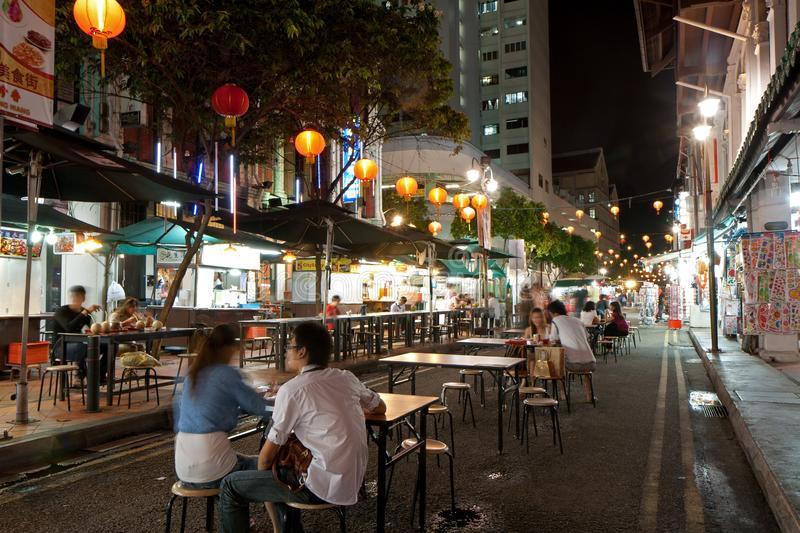 Food street in Singapore`s Chinatown at night stock photo