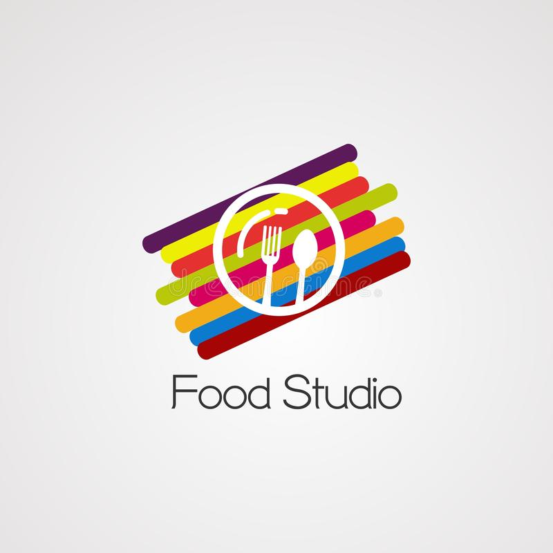 Food studio with colorful digital concept logo vector, icon, element, and template for company royalty free illustration