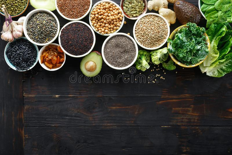 Food superfoods copy space cereals seeds top view Healthy vegetarian stock images