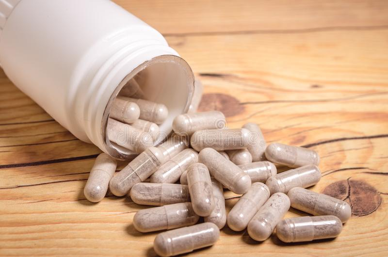 Food supplement capsules stock image