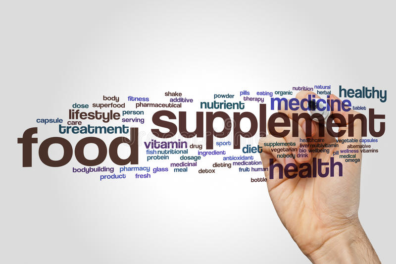 Food supplement word cloud. Concept on grey background royalty free stock photos